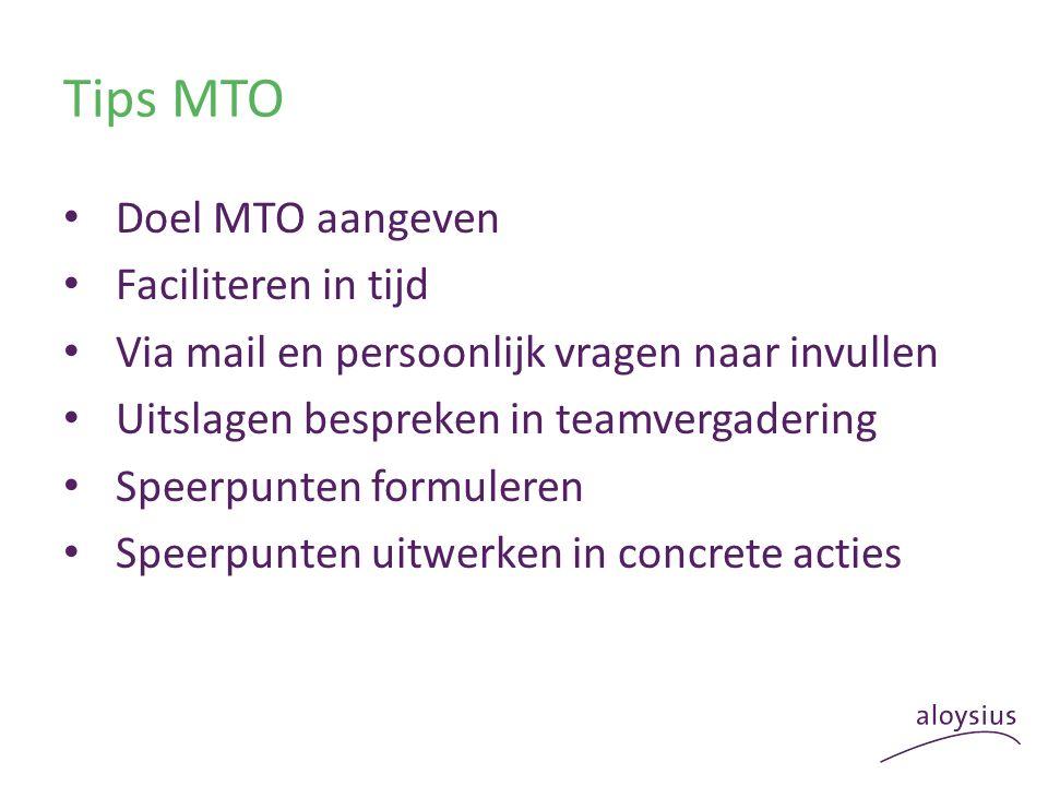 Tips MTO Doel MTO aangeven Faciliteren in tijd Via mail en persoonlijk vragen naar invullen Uitslagen bespreken in teamvergadering Speerpunten formuleren Speerpunten uitwerken in concrete acties