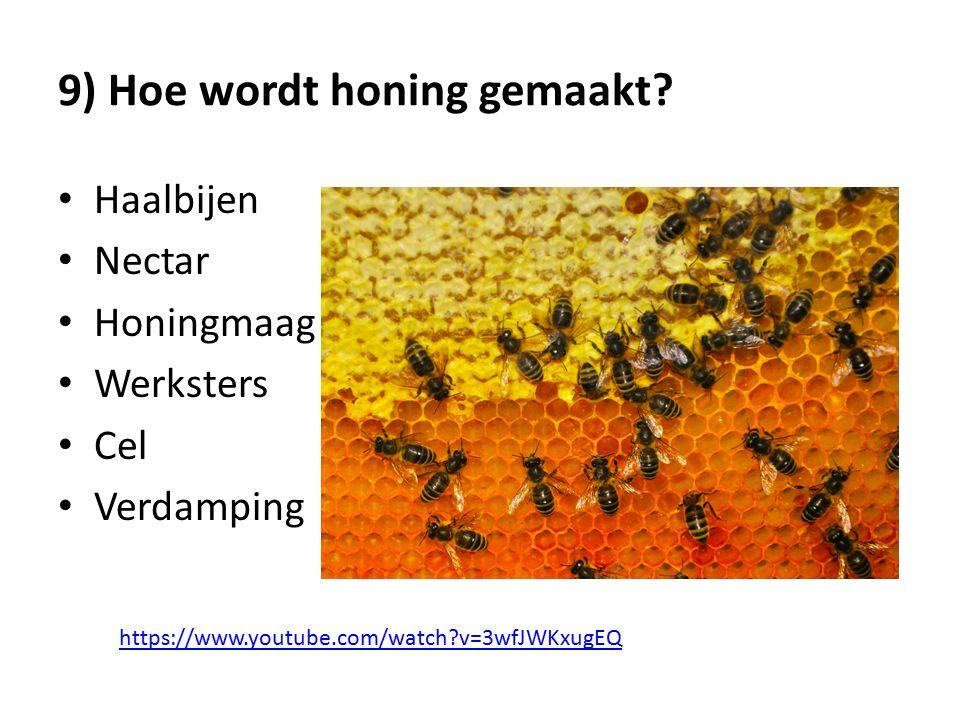 9) Hoe wordt honing gemaakt.