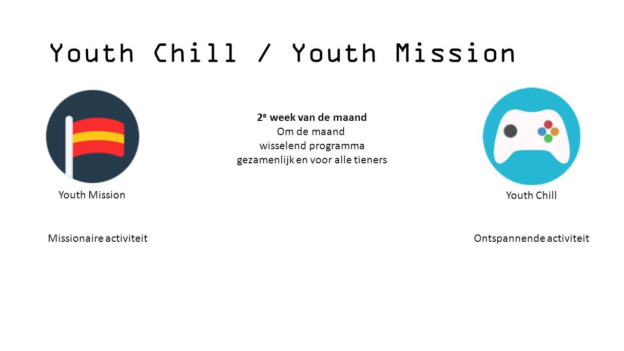Youth Chill / Youth Mission 2 e week van de maand Om de maand wisselend programma gezamenlijk en voor alle tieners Youth Mission Youth Chill Missionaire activiteitOntspannende activiteit