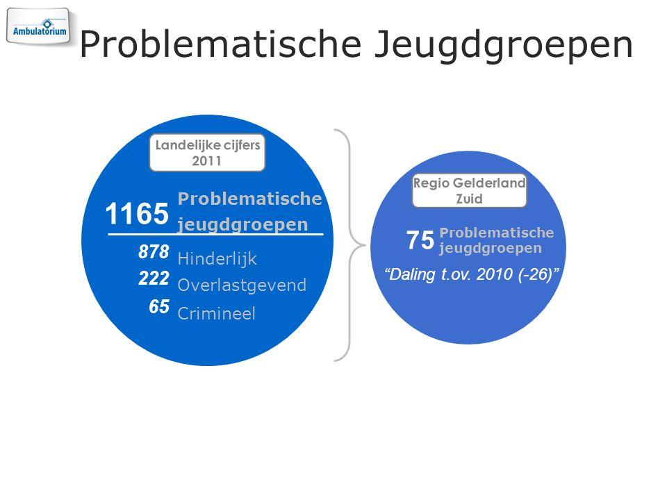 Problematische Jeugdgroepen Landelijke cijfers 2011 Problematische jeugdgroepen 1165 Hinderlijk 878 Overlastgevend 222 Crimineel 65 Regio Gelderland Zuid Problematische jeugdgroepen 75 Daling t.ov.
