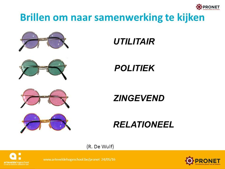 UTILITAIR POLITIEK ZINGEVEND RELATIONEEL (R. De Wulf) Brillen om naar samenwerking te kijken www.arteveldehogeschool.be/pronet 24/05/16