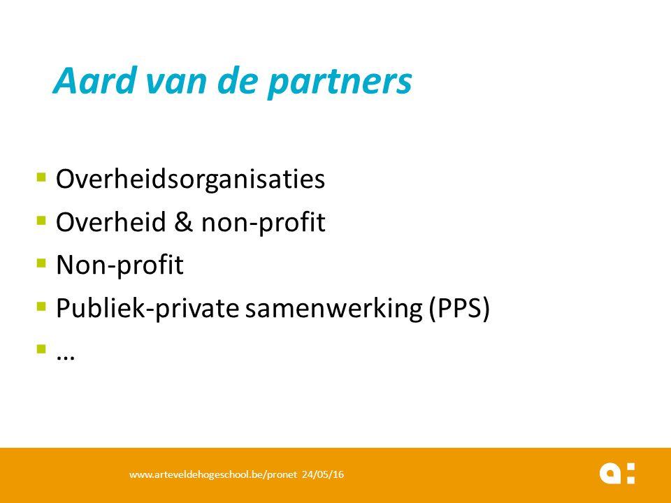  Overheidsorganisaties  Overheid & non-profit  Non-profit  Publiek-private samenwerking (PPS)  … Aard van de partners www.arteveldehogeschool.be/pronet 24/05/16