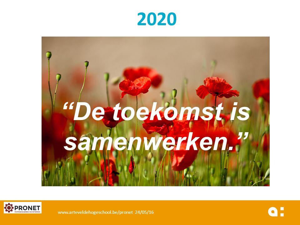 """2020 """"De toekomst is samenwerken."""" www.arteveldehogeschool.be/pronet 24/05/16"""