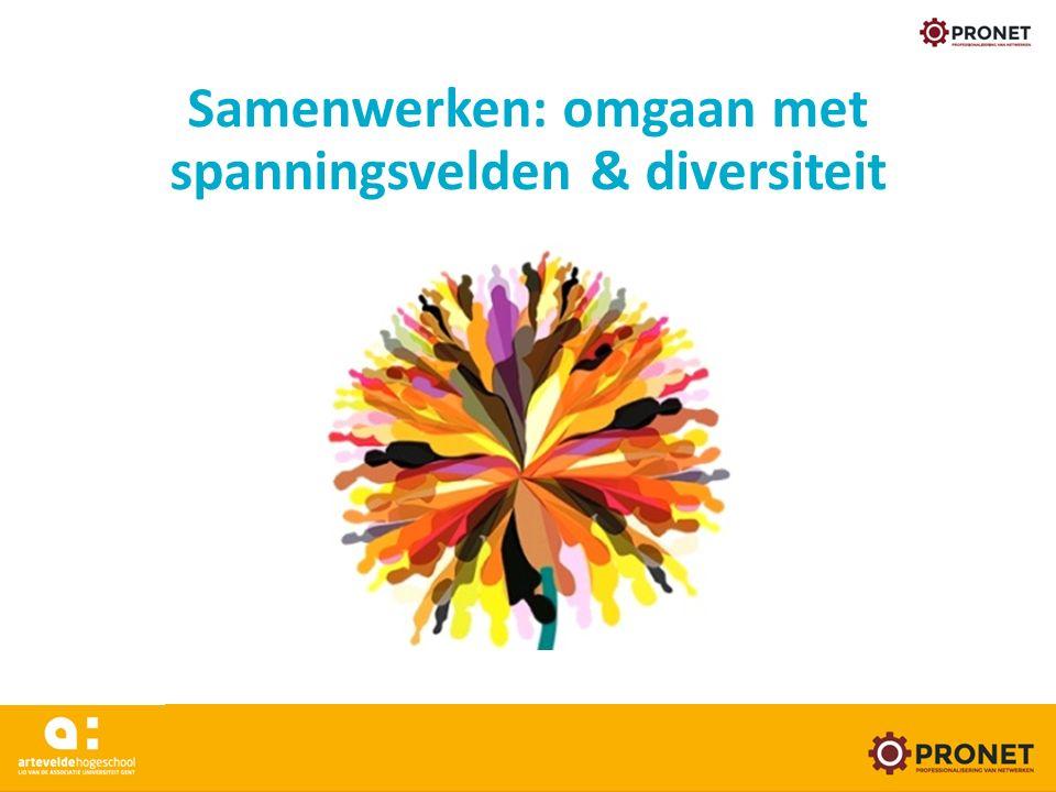 Samenwerken: omgaan met spanningsvelden & diversiteit www.arteveldehogeschool.be/pronet 24/05/16