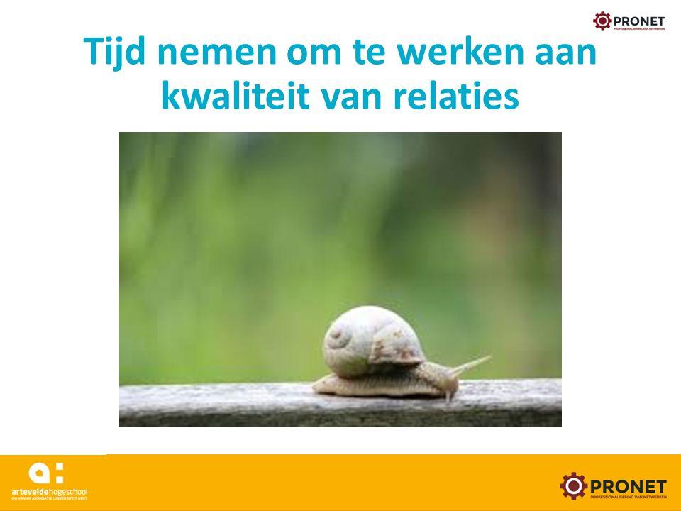 Tijd nemen om te werken aan kwaliteit van relaties www.arteveldehogeschool.be/pronet 24/05/16