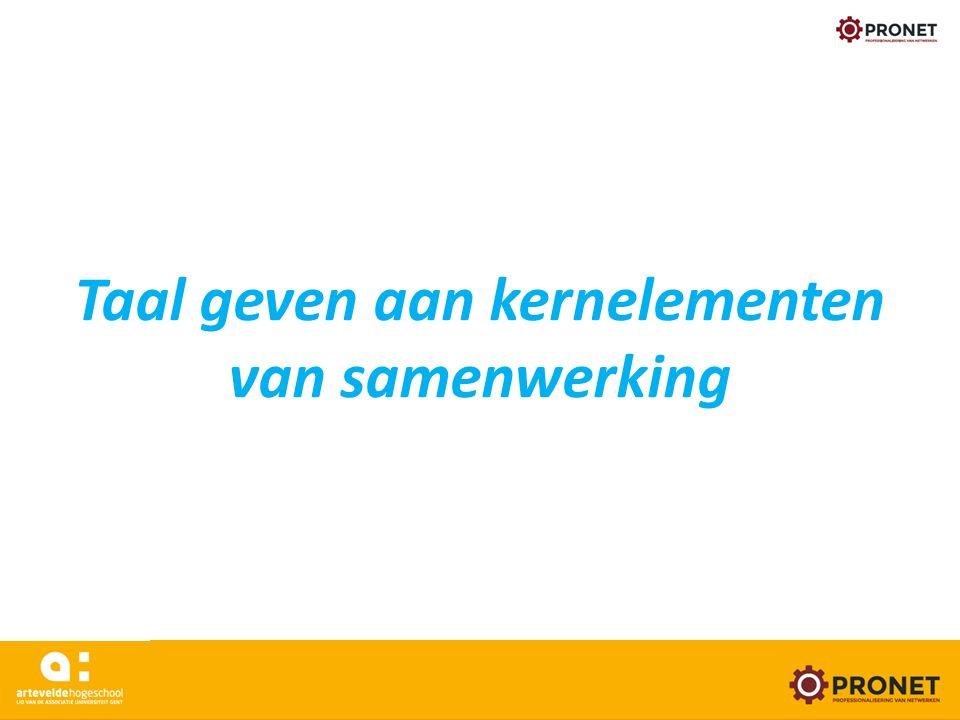 Taal geven aan kernelementen van samenwerking www.arteveldehogeschool.be/pronet 24/05/16
