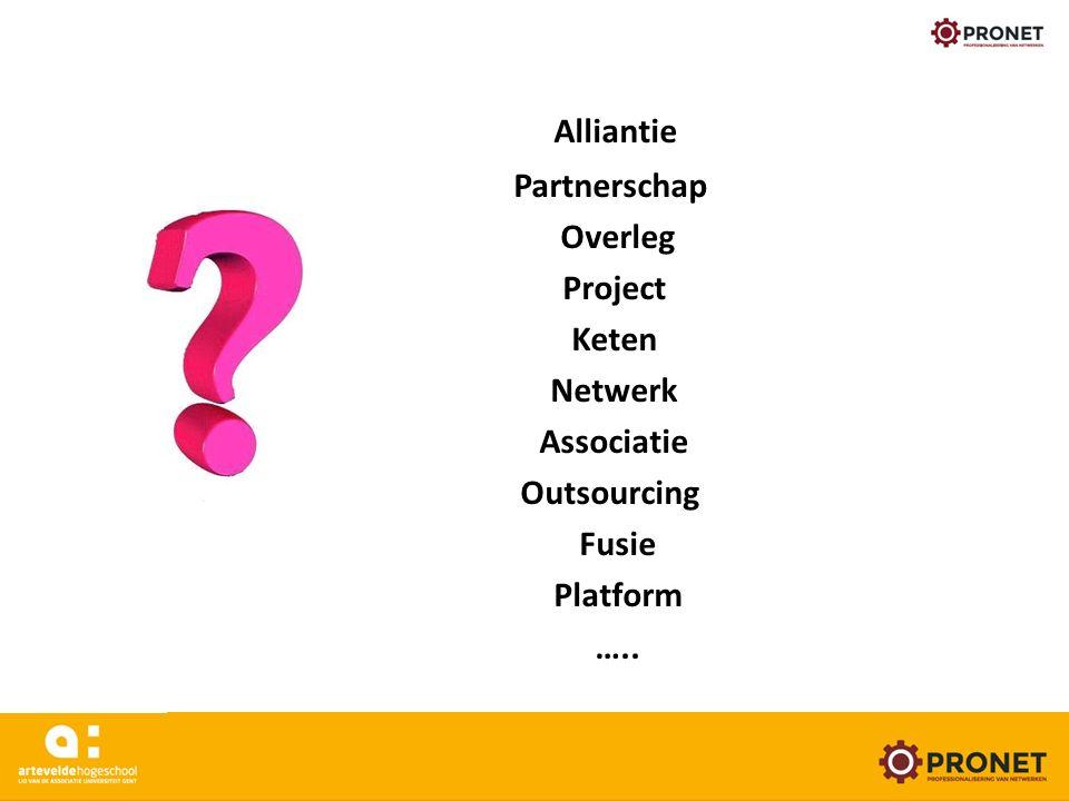 Alliantie Partnerschap Overleg Project Keten Netwerk Associatie Outsourcing Fusie Platform ….. www.arteveldehogeschool.be/pronet 24/05/16