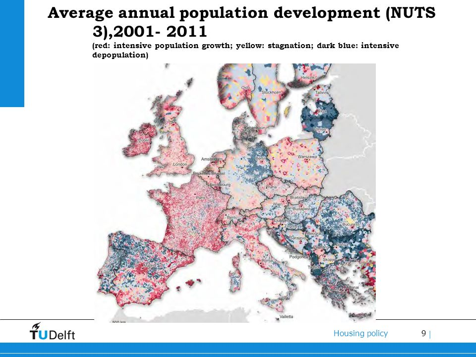9 Housing policy | Average annual population development (NUTS 3),2001- 2011 (red: intensive population growth; yellow: stagnation; dark blue: intensive depopulation)
