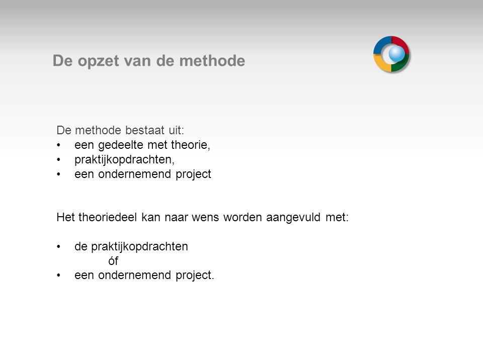 Welkom De opzet van de methode De methode bestaat uit: een gedeelte met theorie, praktijkopdrachten, een ondernemend project Het theoriedeel kan naar