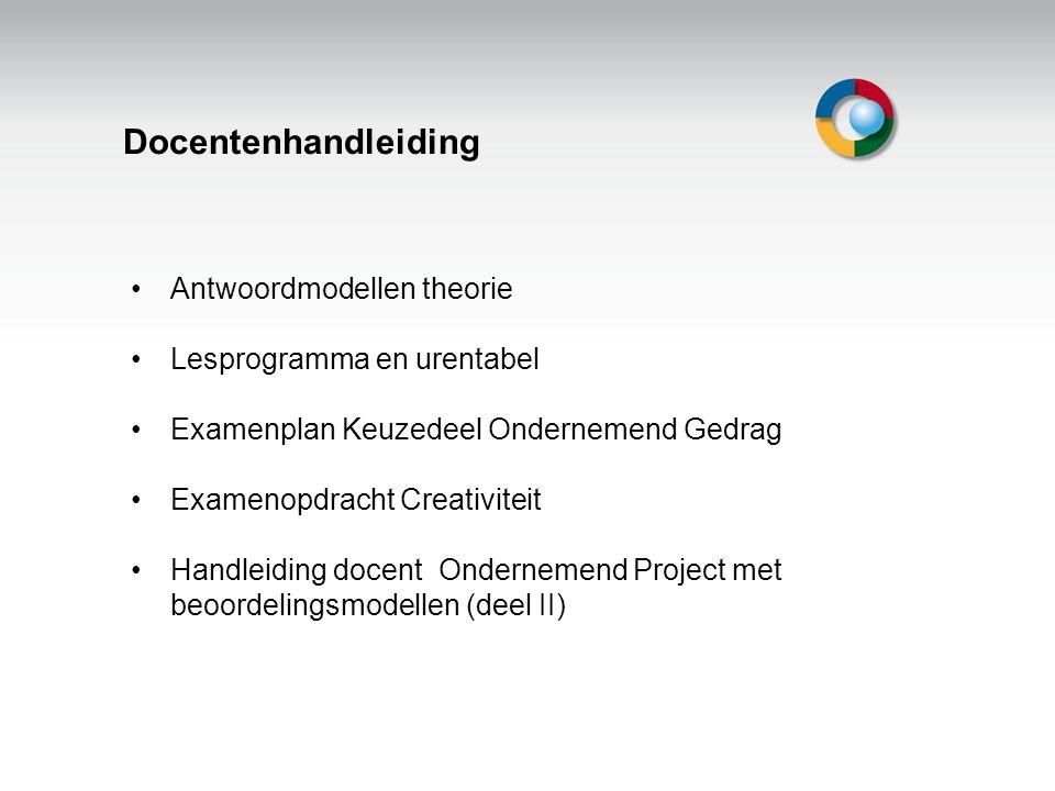 Welkom Docentenhandleiding Antwoordmodellen theorie Lesprogramma en urentabel Examenplan Keuzedeel Ondernemend Gedrag Examenopdracht Creativiteit Hand