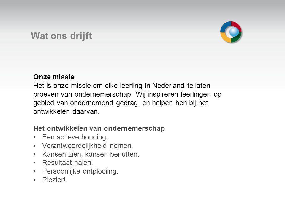 Welkom Wat ons drijft Onze missie Het is onze missie om elke leerling in Nederland te laten proeven van ondernemerschap. Wij inspireren leerlingen op