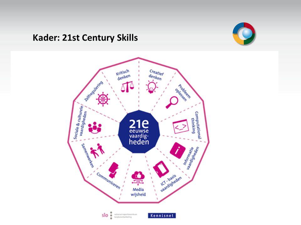21st century eisen aan de school (Denk)vaardigheden digitale geletterdheid, probleemoplossingsvaardigheden, kritisch denken, creativiteit.