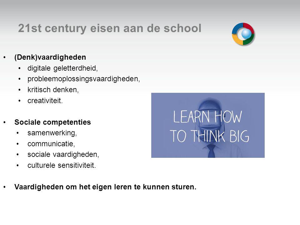 21st century eisen aan de school (Denk)vaardigheden digitale geletterdheid, probleemoplossingsvaardigheden, kritisch denken, creativiteit. Sociale com