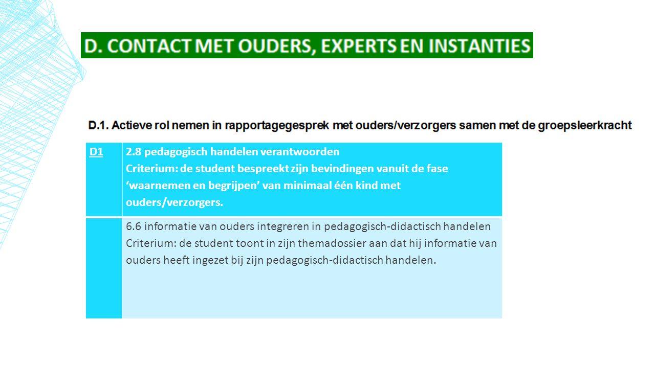 D1 2.8 pedagogisch handelen verantwoorden Criterium: de student bespreekt zijn bevindingen vanuit de fase 'waarnemen en begrijpen' van minimaal één kind met ouders/verzorgers.