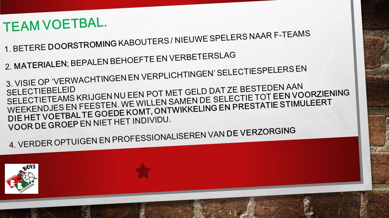 TEAM VOETBAL. 1. BETERE DOORSTROMING KABOUTERS / NIEUWE SPELERS NAAR F-TEAMS 2.