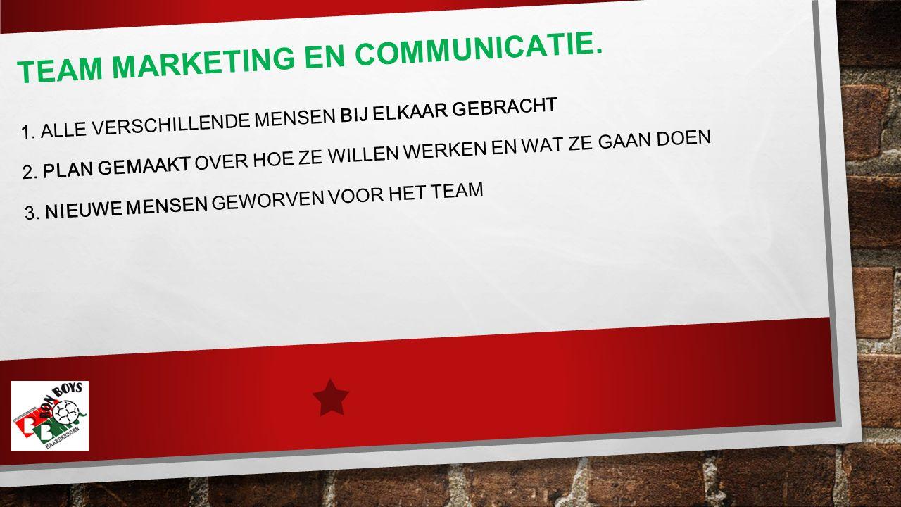 TEAM MARKETING EN COMMUNICATIE. 1. ALLE VERSCHILLENDE MENSEN BIJ ELKAAR GEBRACHT 2.