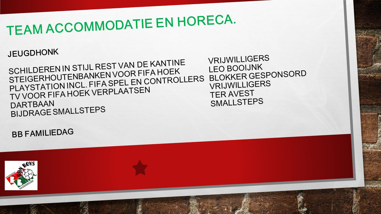 TEAM ACCOMMODATIE EN HORECA.