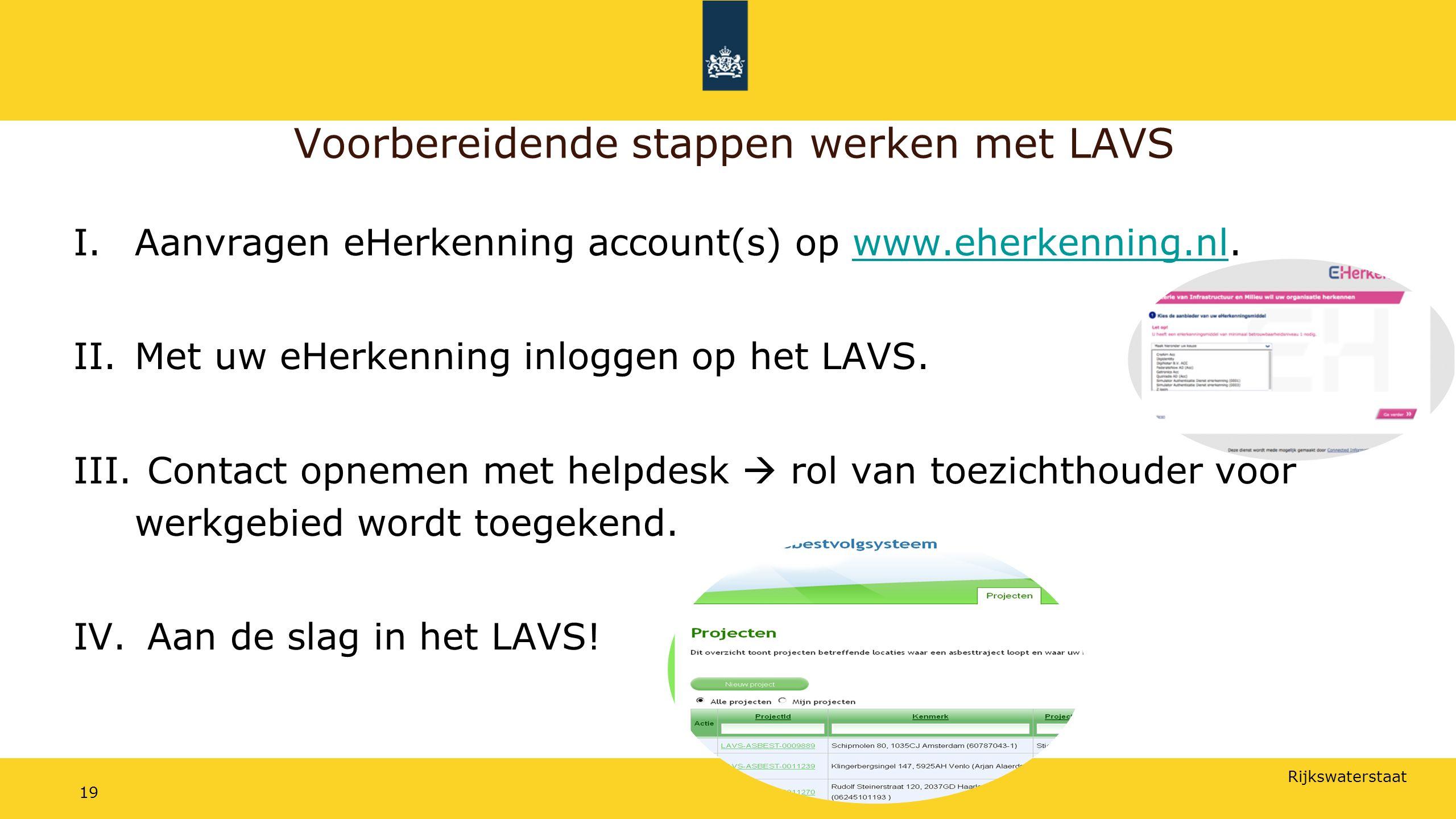 Rijkswaterstaat 19 Voorbereidende stappen werken met LAVS I.Aanvragen eHerkenning account(s) op www.eherkenning.nl.www.eherkenning.nl II.Met uw eHerkenning inloggen op het LAVS.