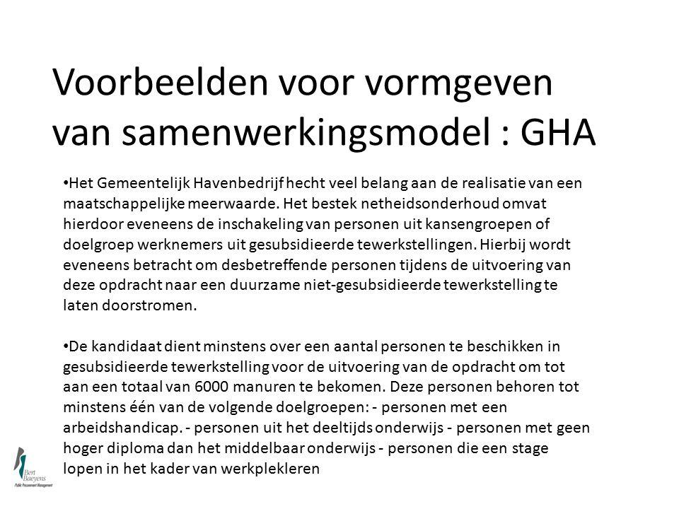 Voorbeelden voor vormgeven van samenwerkingsmodel : GHA Het Gemeentelijk Havenbedrijf hecht veel belang aan de realisatie van een maatschappelijke meerwaarde.