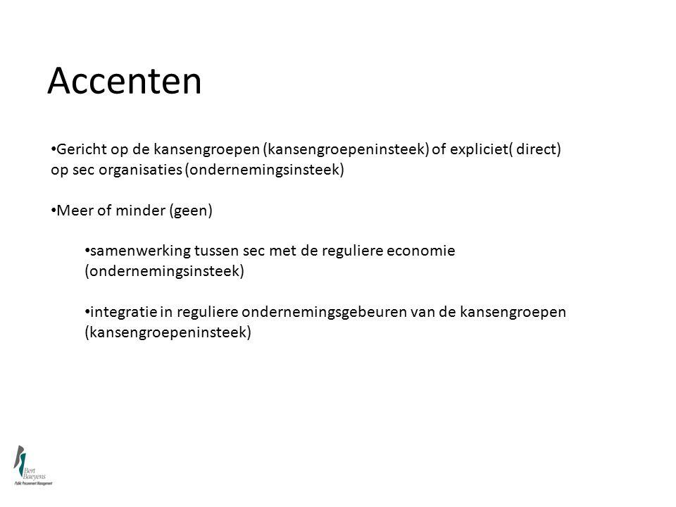 Accenten Gericht op de kansengroepen (kansengroepeninsteek) of expliciet( direct) op sec organisaties (ondernemingsinsteek) Meer of minder (geen) samenwerking tussen sec met de reguliere economie (ondernemingsinsteek) integratie in reguliere ondernemingsgebeuren van de kansengroepen (kansengroepeninsteek)