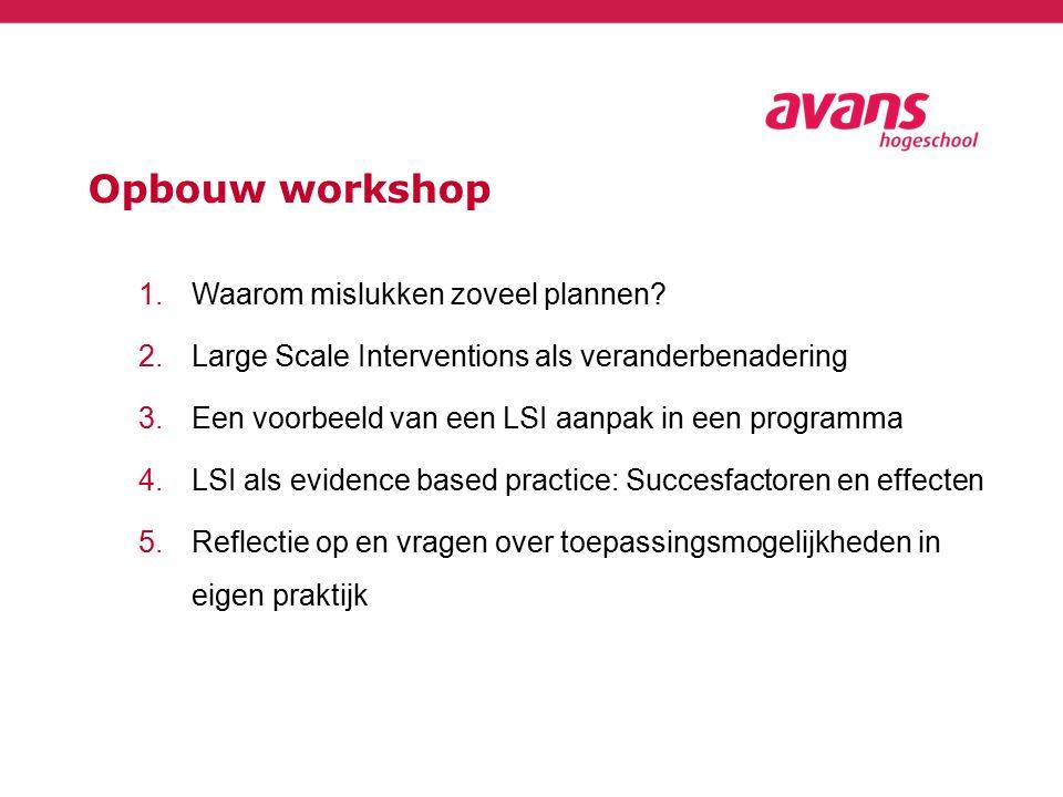 Opbouw workshop 1.Waarom mislukken zoveel plannen? 2.Large Scale Interventions als veranderbenadering 3.Een voorbeeld van een LSI aanpak in een progra