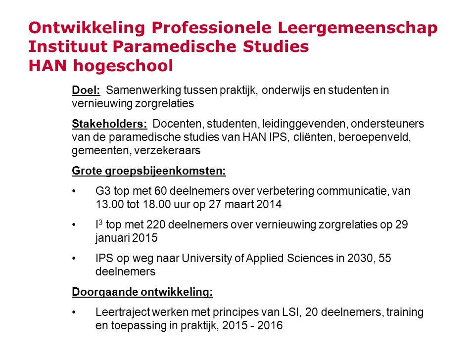 Ontwikkeling Professionele Leergemeenschap Instituut Paramedische Studies HAN hogeschool Doel: Samenwerking tussen praktijk, onderwijs en studenten in