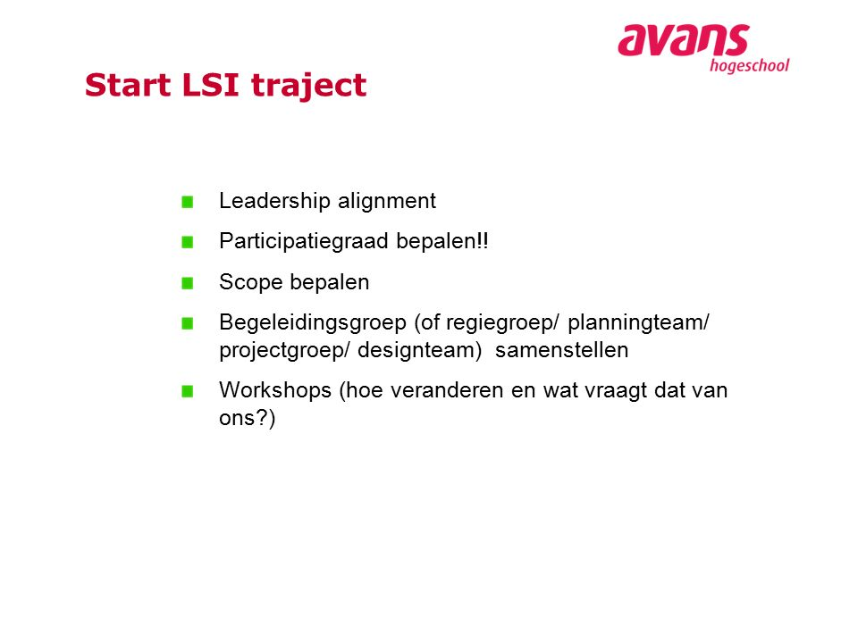 Leadership alignment Participatiegraad bepalen!.