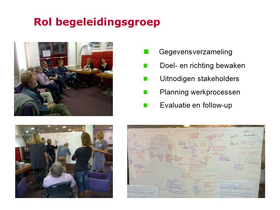 Rol begeleidingsgroep Gegevensverzameling Doel- en richting bewaken Uitnodigen stakeholders Planning werkprocessen Evaluatie en follow-up