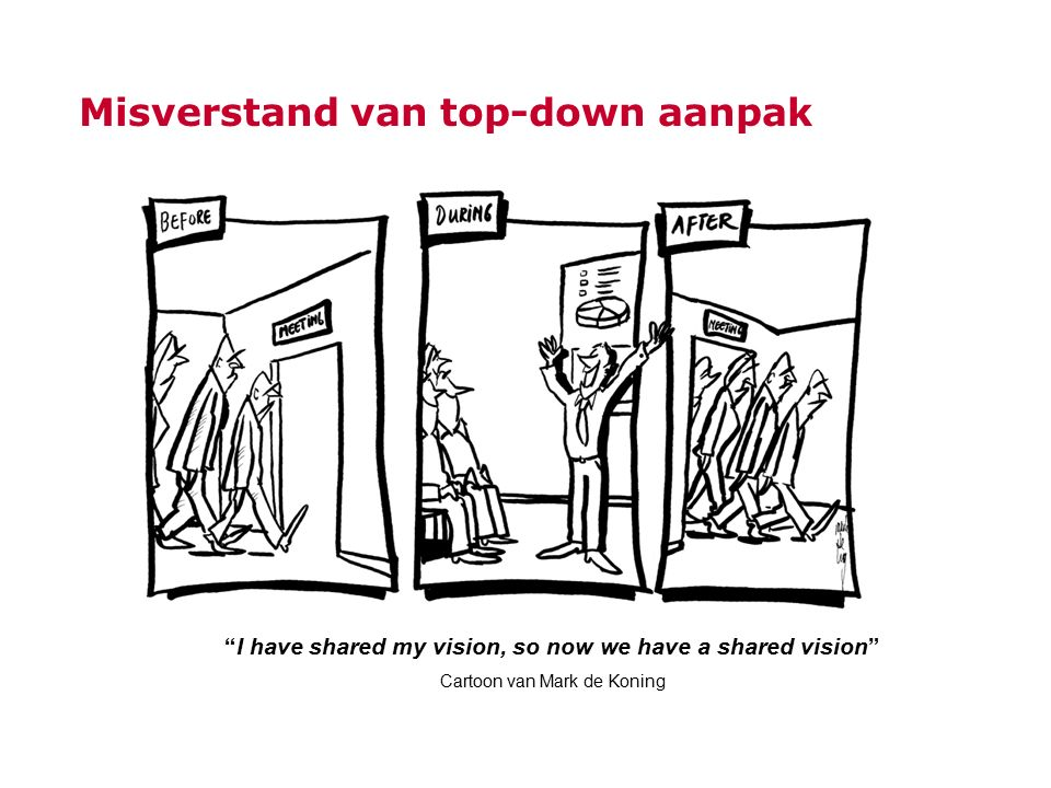 "Misverstand van top-down aanpak ""I have shared my vision, so now we have a shared vision"" Cartoon van Mark de Koning"