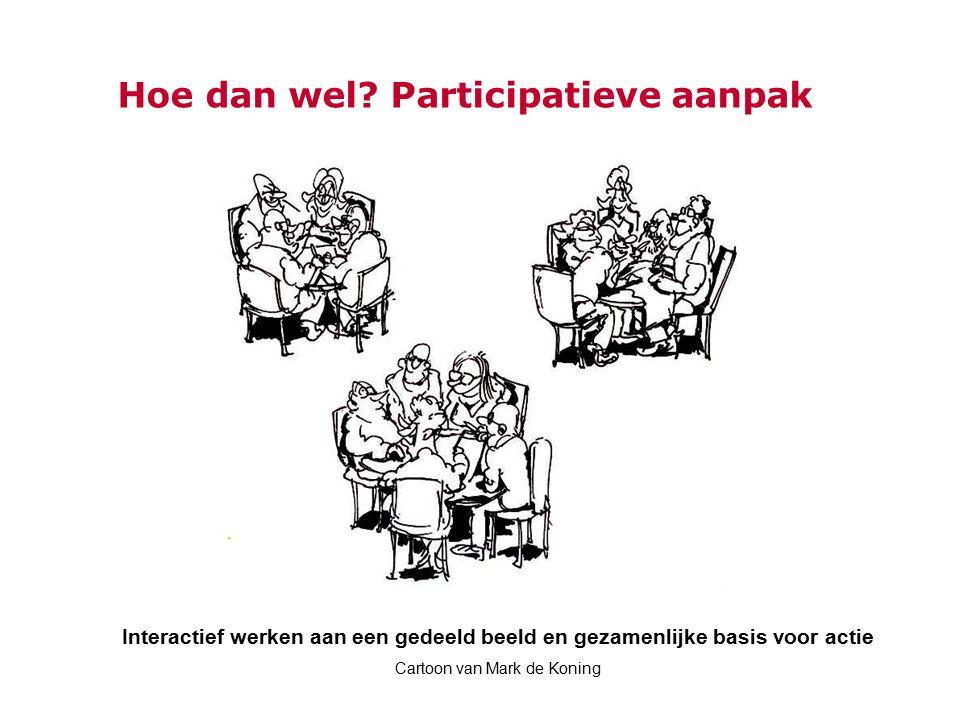Hoe dan wel? Participatieve aanpak Interactief werken aan een gedeeld beeld en gezamenlijke basis voor actie Cartoon van Mark de Koning