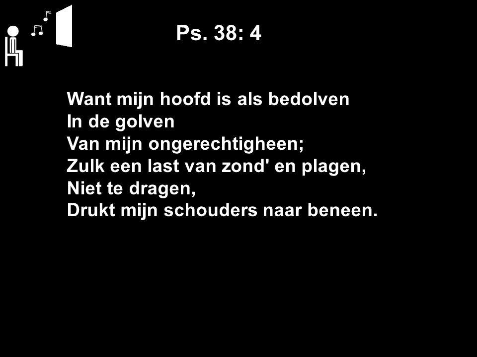 Ps. 38: 4 Want mijn hoofd is als bedolven In de golven Van mijn ongerechtigheen; Zulk een last van zond' en plagen, Niet te dragen, Drukt mijn schoude