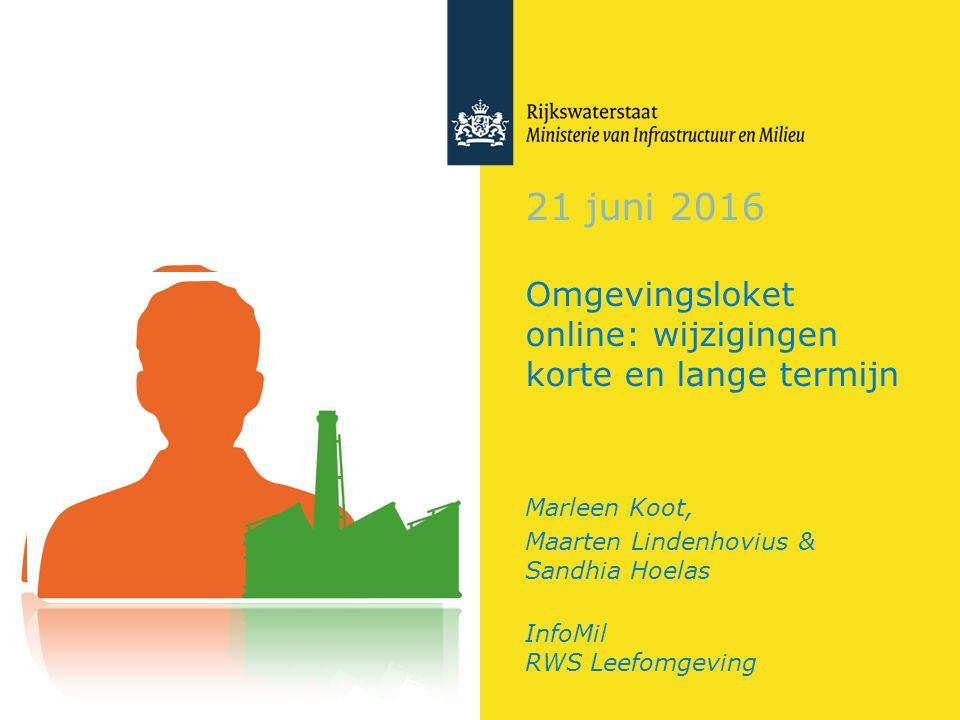 21 juni 2016 Omgevingsloket online: wijzigingen korte en lange termijn Marleen Koot, Maarten Lindenhovius & Sandhia Hoelas InfoMil RWS Leefomgeving