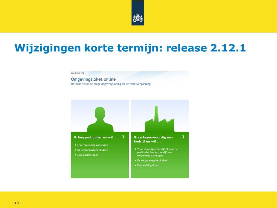 10 Wijzigingen korte termijn: release 2.12.1