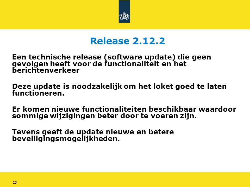 23 Release 2.12.2 Een technische release (software update) die geen gevolgen heeft voor de functionaliteit en het berichtenverkeer Deze update is noodzakelijk om het loket goed te laten functioneren.