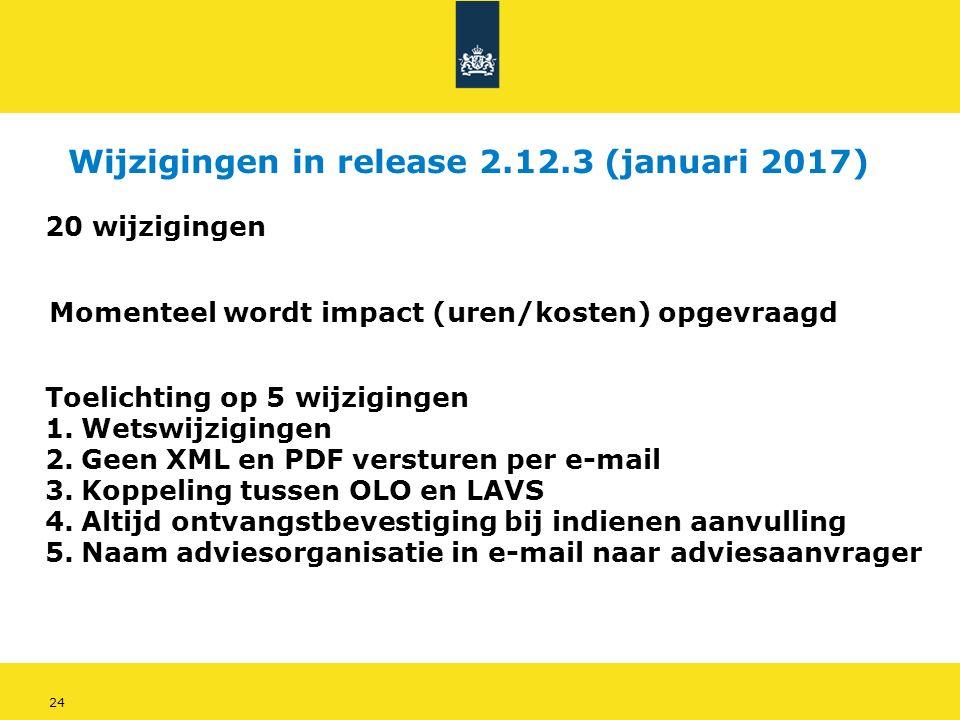 24 Wijzigingen in release 2.12.3 (januari 2017) 20 wijzigingen Momenteel wordt impact (uren/kosten) opgevraagd Toelichting op 5 wijzigingen 1.Wetswijzigingen 2.Geen XML en PDF versturen per e-mail 3.Koppeling tussen OLO en LAVS 4.Altijd ontvangstbevestiging bij indienen aanvulling 5.Naam adviesorganisatie in e-mail naar adviesaanvrager