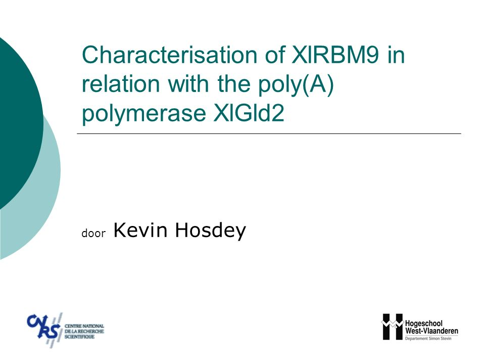 Characterisation of XlRBM9 in relation with the poly(A) polymerase XlGld2  Situering  Experimenten en resultaten  Besluit Characterisation of XlRBM9 in relation with the poly(A) polymerase XlGld2 – Kevin Hosdey –