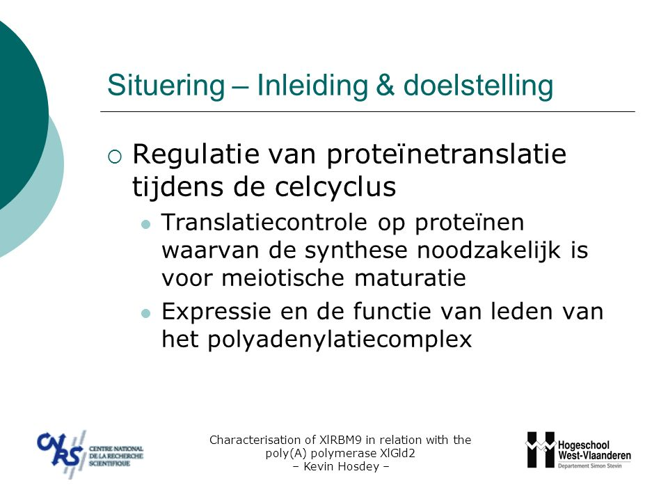 Situering – Xenopus laevis, een biologisch model  Grote en robuuste oocyten  micro-injectie Characterisation of XlRBM9 in relation with the poly(A) polymerase XlGld2 – Kevin Hosdey –