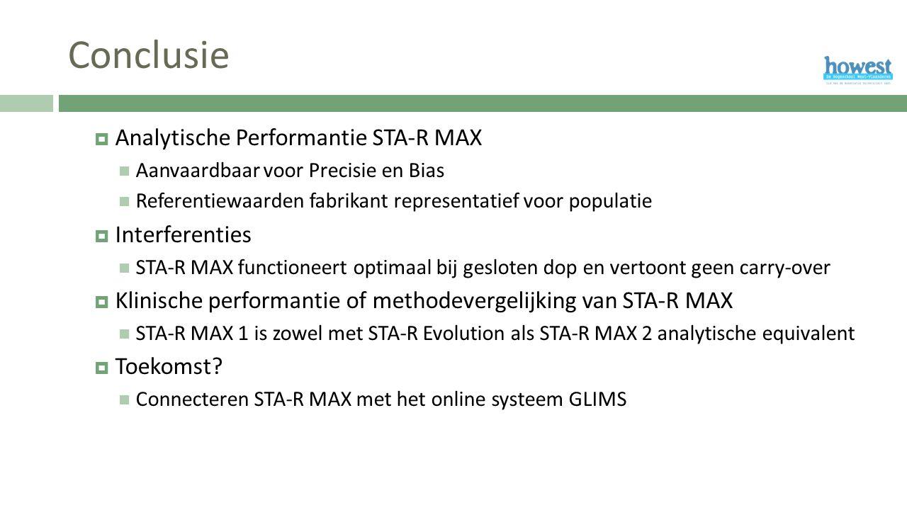 Conclusie  Analytische Performantie STA-R MAX Aanvaardbaar voor Precisie en Bias Referentiewaarden fabrikant representatief voor populatie  Interferenties STA-R MAX functioneert optimaal bij gesloten dop en vertoont geen carry-over  Klinische performantie of methodevergelijking van STA-R MAX STA-R MAX 1 is zowel met STA-R Evolution als STA-R MAX 2 analytische equivalent  Toekomst.