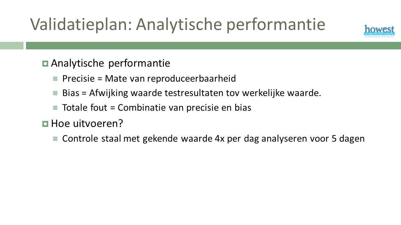 Validatieplan: Analytische performantie  Analytische performantie Precisie = Mate van reproduceerbaarheid Bias = Afwijking waarde testresultaten tov werkelijke waarde.