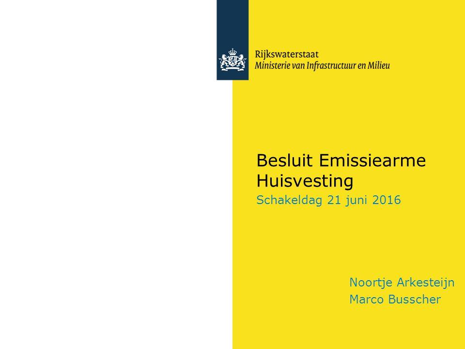 Besluit Emissiearme Huisvesting Schakeldag 21 juni 2016 Noortje Arkesteijn Marco Busscher