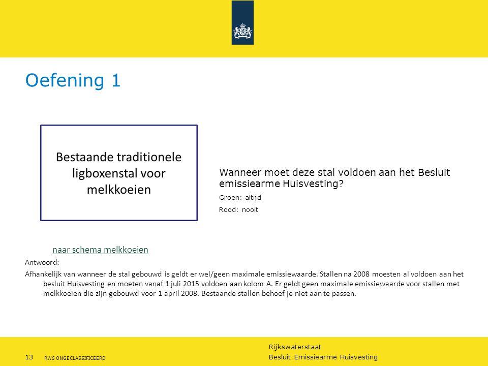 Rijkswaterstaat 13Besluit Emissiearme Huisvesting RWS ONGECLASSIFICEERD Oefening 1 naar schema melkkoeien Antwoord: Afhankelijk van wanneer de stal ge