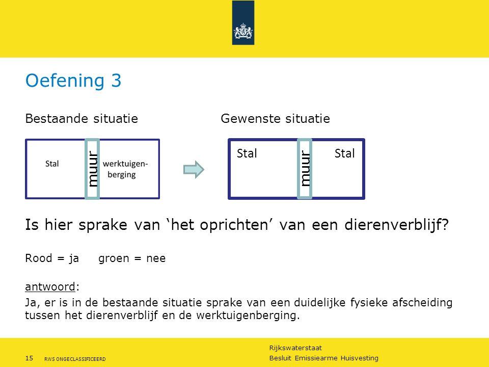 Rijkswaterstaat 15Besluit Emissiearme Huisvesting RWS ONGECLASSIFICEERD Oefening 3 Bestaande situatieGewenste situatie Is hier sprake van 'het opricht