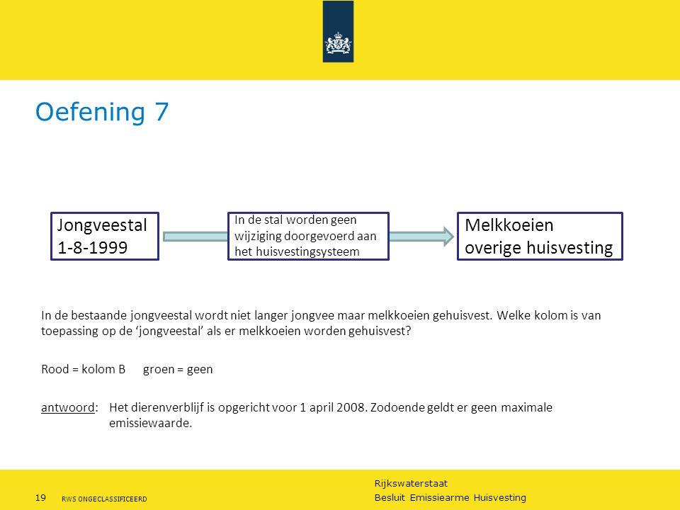 Rijkswaterstaat 19Besluit Emissiearme Huisvesting RWS ONGECLASSIFICEERD Oefening 7 In de bestaande jongveestal wordt niet langer jongvee maar melkkoei