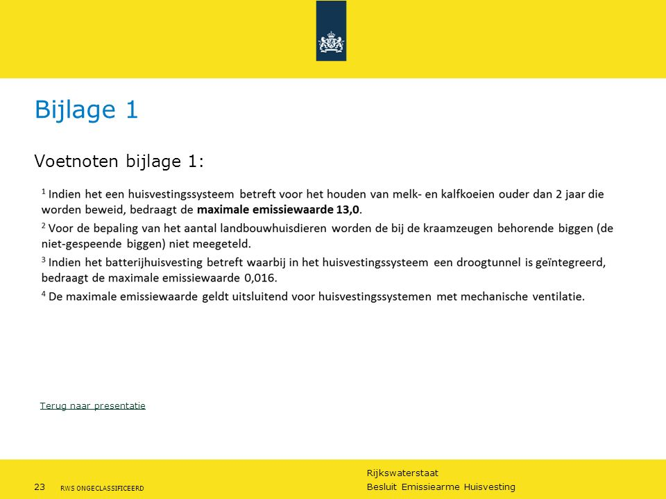 Rijkswaterstaat 23Besluit Emissiearme Huisvesting RWS ONGECLASSIFICEERD Bijlage 1 Voetnoten bijlage 1: Terug naar presentatie