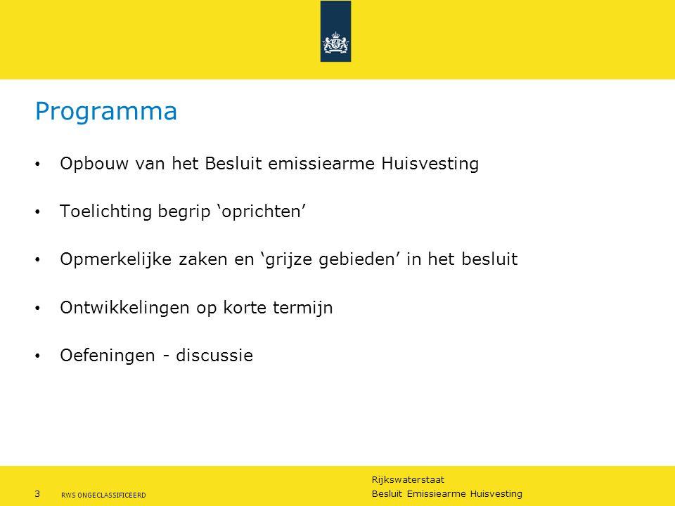 Rijkswaterstaat 3Besluit Emissiearme Huisvesting RWS ONGECLASSIFICEERD Programma Opbouw van het Besluit emissiearme Huisvesting Toelichting begrip 'op