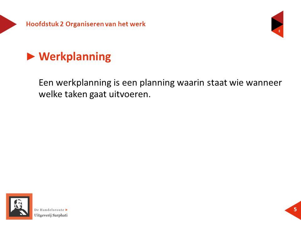 Hoofdstuk 2 Organiseren van het werk 5 ► Werkplanning Een werkplanning is een planning waarin staat wie wanneer welke taken gaat uitvoeren.