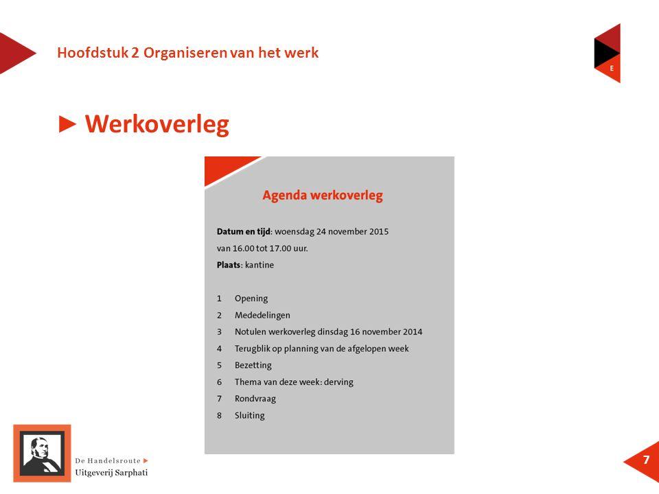 Hoofdstuk 2 Organiseren van het werk 7 ► Werkoverleg