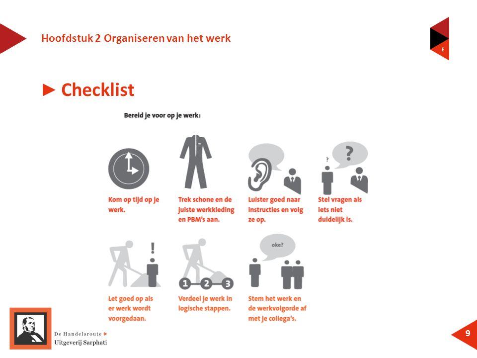 Hoofdstuk 2 Organiseren van het werk 9 ► Checklist