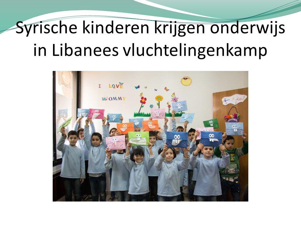 Syrische kinderen krijgen onderwijs in Libanees vluchtelingenkamp