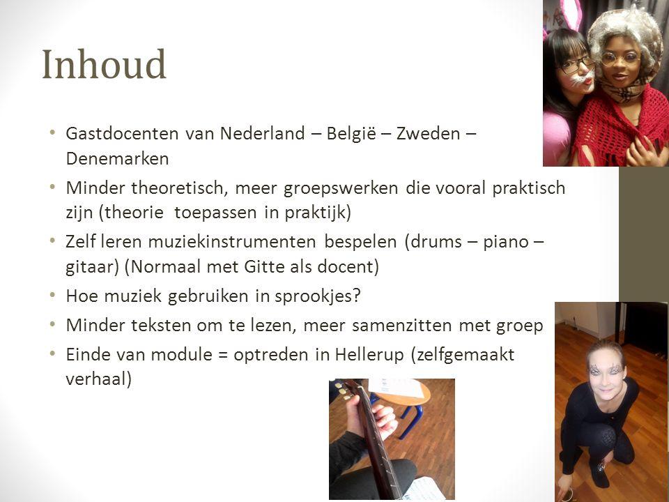Inhoud Gastdocenten van Nederland – België – Zweden – Denemarken Minder theoretisch, meer groepswerken die vooral praktisch zijn (theorie toepassen in